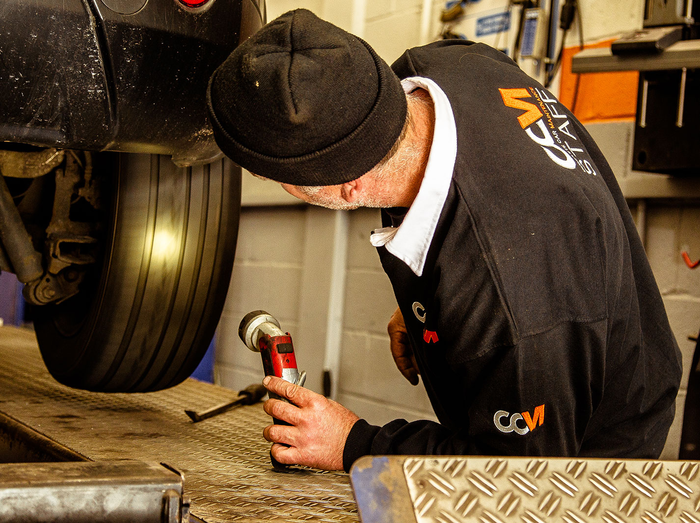 CCM Gatwick MOT Tester Checks Tyres