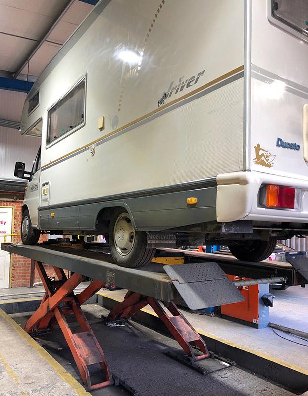 Campervan Repairs on Ramp at CCM Garage