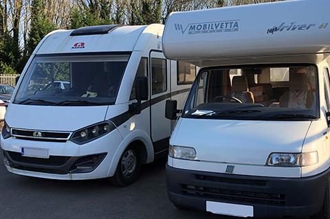 Campervans ready for servicing at CCM garages
