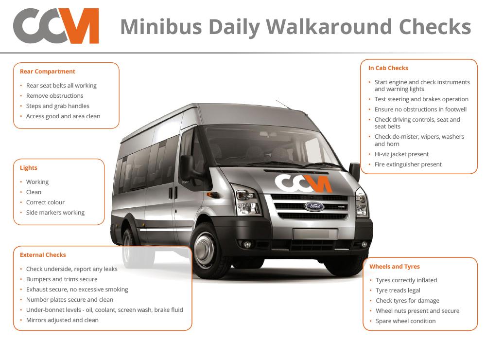 Minibus daily walkaround checks infographic at CCM Garage