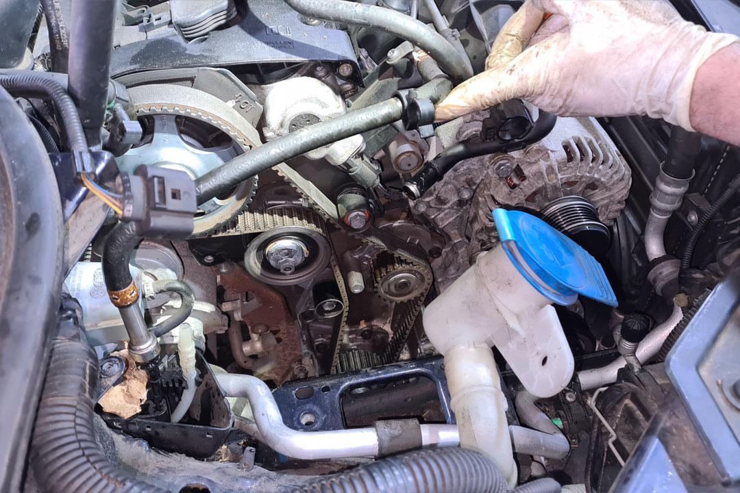 Close Up of Timing Belt Repair at CCM Ewhurst