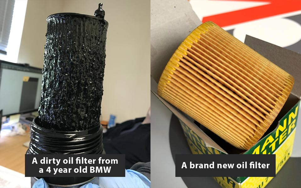 old and new oil filter comparison banner CCM Garages in Crawley Ewhurst and Cranleigh